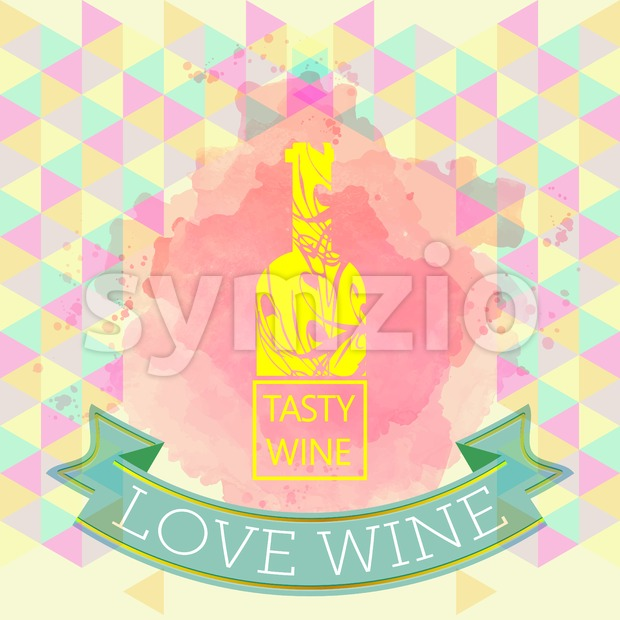 Red wine love and tasting card, yellow bottle over water color background with pattern. Digital vector image. Stock Vector