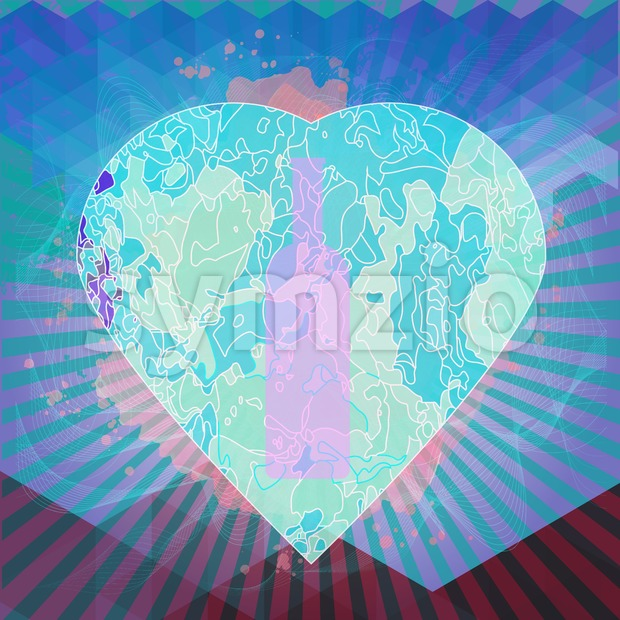 Red wine and tasting card, bottle in a heart shape over water color background. Digital vector image. Stock Vector