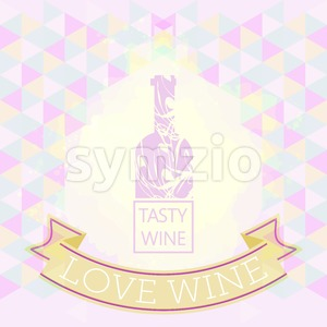 Wine tasting and love card, purple bottle over colored background with pattern. Digital vector image. Stock Vector