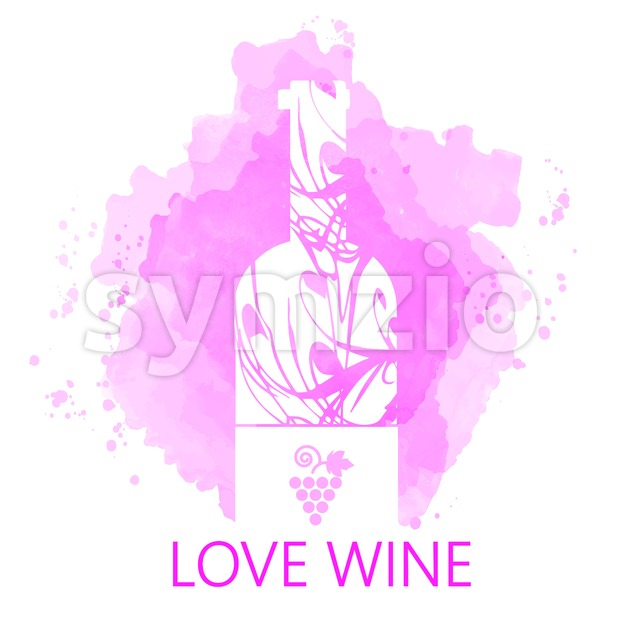 Wine tasting and love card, white bottle over purple background with water color. Digital vector image. Stock Vector