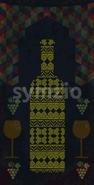 White wine and tasting card, bottle with two glasses over water dark background with colored pattern and grape sign. Digital ...