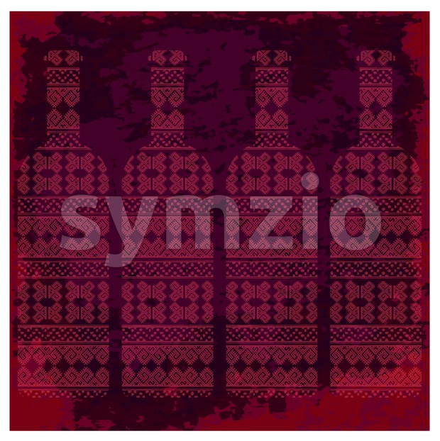 Wine tasting card, four bottles of red wine with pattern over dark background with water color. Digital vector image.