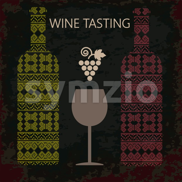 Wine tasting card, two bottles of white and red wine, a glass and grape sign over dark background. Digital vector ...