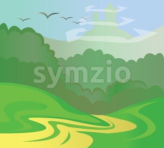 Green trees in a forest and a yellow road with birds in the blue skies. Digital background vector illustration. Stock Vector