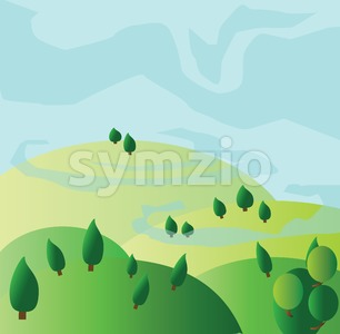 Green trees growing on yellow hills with blue skies. Digital background vector illustration. Stock Vector