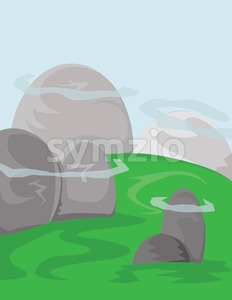 Silver hills with green fields and blue skies with white clouds. Digital background vector illustration. Stock Vector