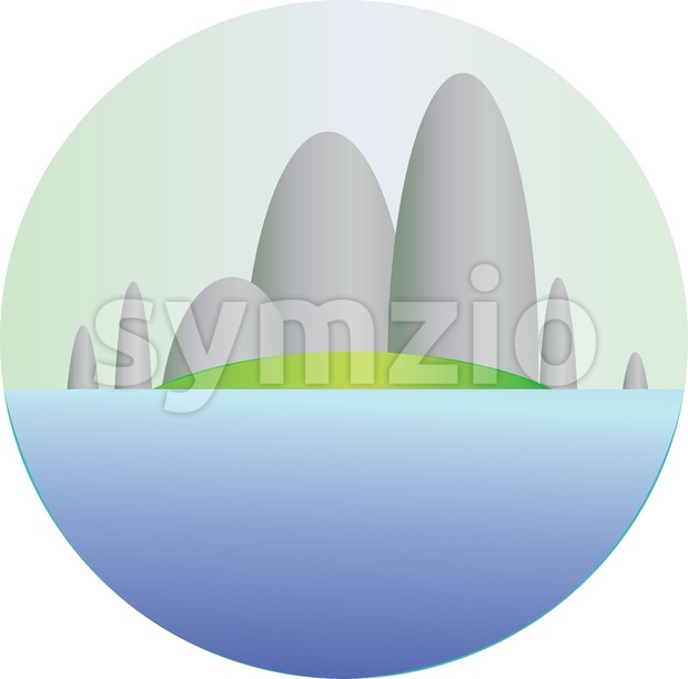 Silver hills with green fields and sea section in a round frame. Digital background vector illustration. Stock Vector