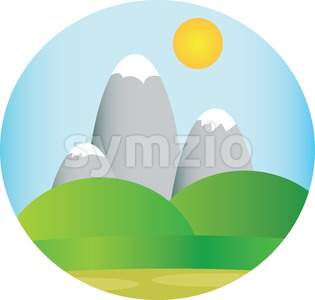 Silver mountains with snow with green fields and sun in the sky in a round frame. Digital background vector illustration. Stock Vector