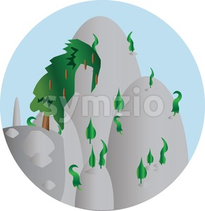 Green trees growing on silver hills in a round frame. Digital background vector illustration. Stock Vector