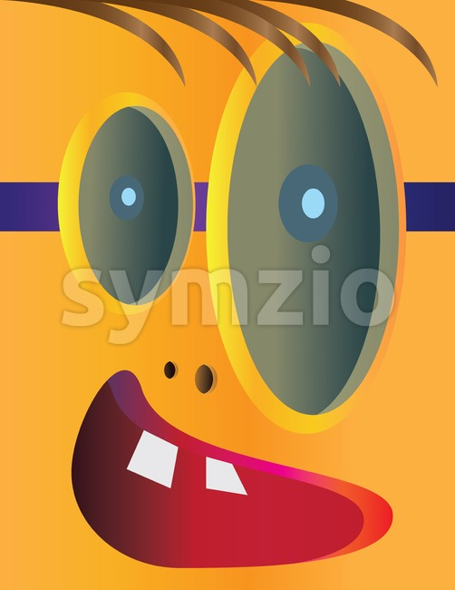 Creepy kid head cartoon character with different size eyes and an open mouth with teeth. Digital background vector illustration.