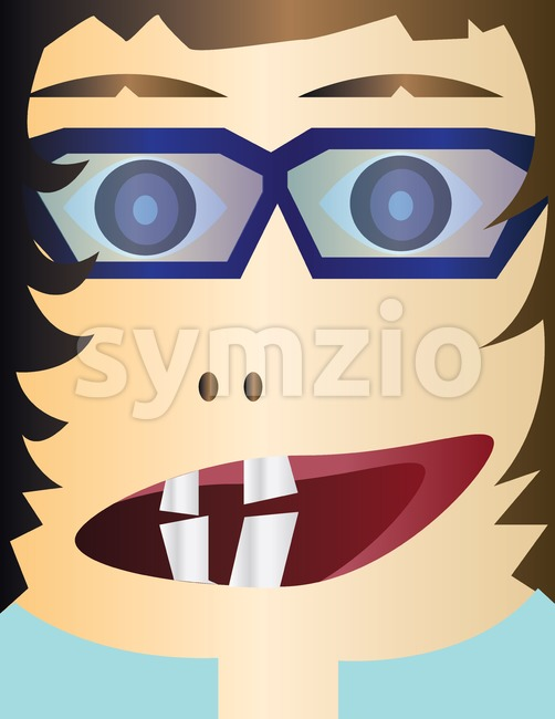 Creepy kid head cartoon character with glasses and an open mouth with teeth. Digital background vector illustration. Stock Vector