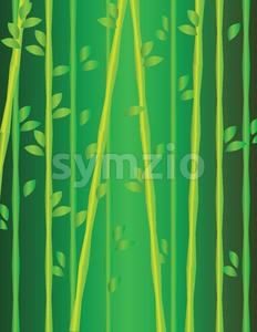 Green and yellow growing branches with leaves. Digital background vector illustration. Stock Vector