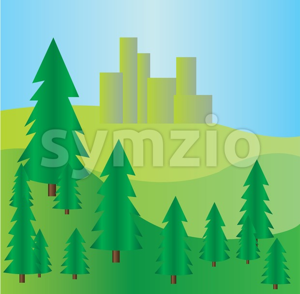 Pine trees at mountains landscape with blue skies. Digital background vector illustration. Stock Vector