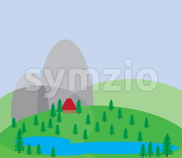 Green trees growing on silver hills with a blue background and a small red house near a blue lake. Digital background vector illustration. Stock Vector