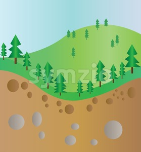Green trees mountain section landscape with brown ground and stones. Digital background vector illustration. Stock Vector