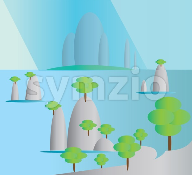 Green trees growing on silver hills with a blue background. Digital background vector illustration.