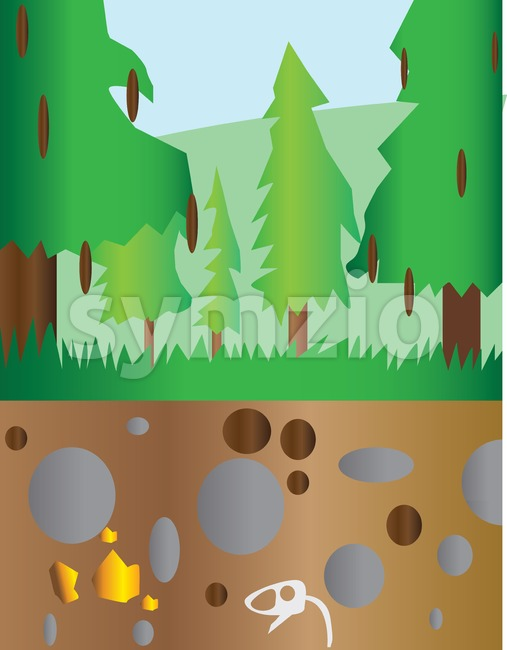 Pine trees at mountain section landscape with brown ground and stones. Digital background vector illustration. Stock Vector