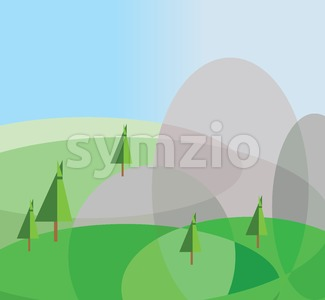 Green trees growing on silver hills with a blue background. Digital background vector illustration. Stock Vector