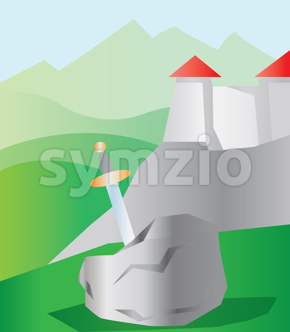 A sword in a stone, near a castle with red roof in green mountains. Digital background vector illustration. Stock Vector