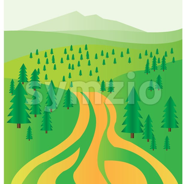 A road and green fir trees. Digital background vector illustration. Stock Vector