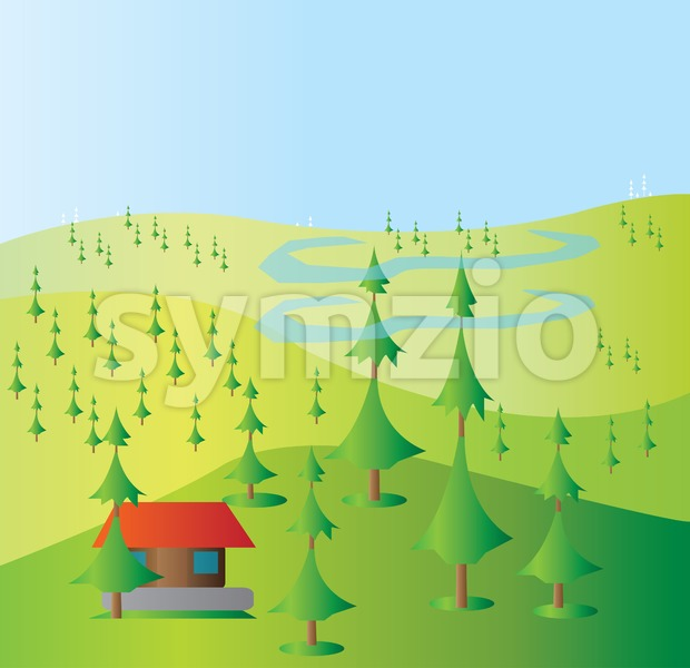 Green trees growing on yellow hills with a blue background and a small red house and blue clouds. Digital background vector illustration. Stock Vector