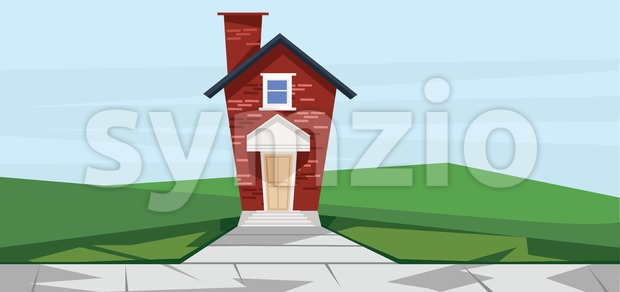 Vector flat cartoon style red two floor house near road. Stock Vector