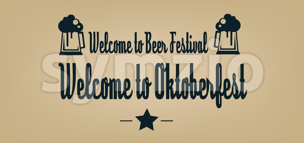 Vector welcome to Oktoberfest beer festival with a star and beer glasses over brown background. Stock Vector