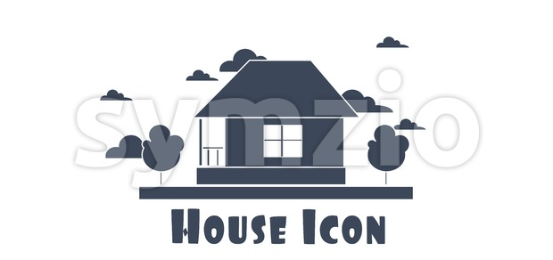 Vector flat style one floor house with trees and clouds silver icon. Stock Vector