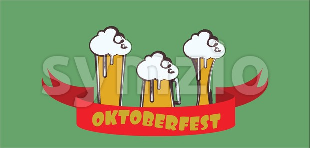 Vector Oktoberfest beer festival with red ribbon and glasses of beer with foam over green background. Stock Vector