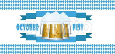 Vector Oktoberfest beer festival with blue ribbon and glasses of beer with foam over white background. Stock Vector