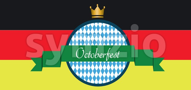 Vector Oktoberfest beer festival with green ribbon, golden crown and german national flag colors background. Stock Vector