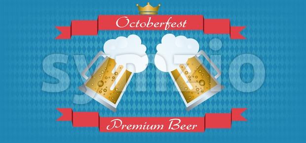 Vector Oktoberfest beer festival with red ribbon, golden crown and glasses of beer with foam over blue background. Stock Vector