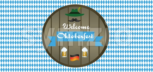Vector welcome Oktoberfest beer festival with green hunter hat, mustache, beer glasses and german national flag. Stock Vector