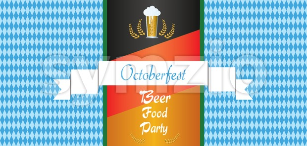Vector Oktoberfest beer festival with white ribbon, glass of beer and german national flag colors background. Stock Vector