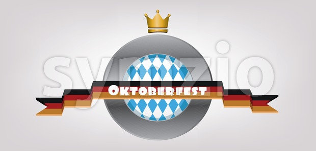 Vector Oktoberfest beer festival with golden crown and german national flag ribbon. Stock Vector