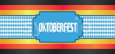 Vector Oktoberfest beer festival with german national flag colors. Stock Vector