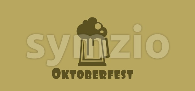 Vector Oktoberfest beer festival with a beer glass with foam over khaki background, flat style. Stock Vector