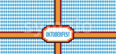 Vector Oktoberfest beer festival with german national flag colors ribbon over white and blue background. Stock Vector