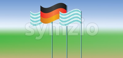 Vector Oktoberfest beer festival and german national flags, flat style. Stock Vector