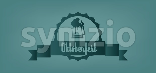 Vector Oktoberfest beer festival with a beer glass over green background, flat style. Stock Vector