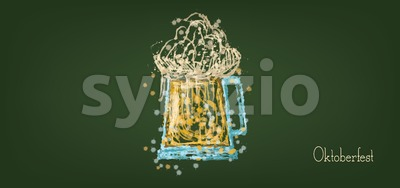 Vector Oktoberfest beer festival with a sketch of beer glass over green background, flat style. Stock Vector