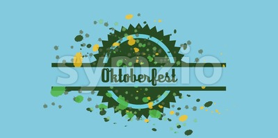 Vector Oktoberfest beer festival with color dots over blue background, flat style. Stock Vector