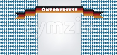 Vector Oktoberfest beer festival with ribbon in german national colors with silver space for text. Stock Vector