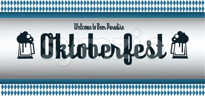 Vector Oktoberfest beer festival with beer glasses over white and blue background, flat style. Stock Vector