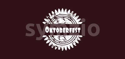 Vector Oktoberfest beer festival logo over dark background, flat style. Stock Vector