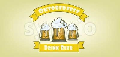Vector Oktoberfest beer festival with beer glasses over yellow background, flat style. Stock Vector
