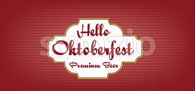 Vector Hello Oktoberfest beer festival over red background, flat style. Stock Vector