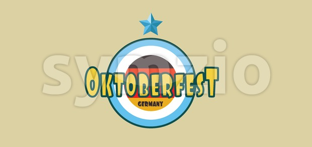 Vector Oktoberfest beer festival with a blue star and german national colors, flat style. Stock Vector