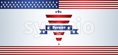 Vector Patriot Day, with blue and red stripes and stars over silver background. Stock Vector