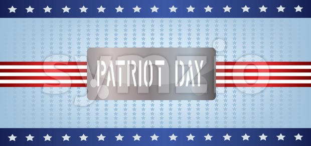 Vector Patriot Day, with blue and red stripes and stars over blue background. Stock Vector
